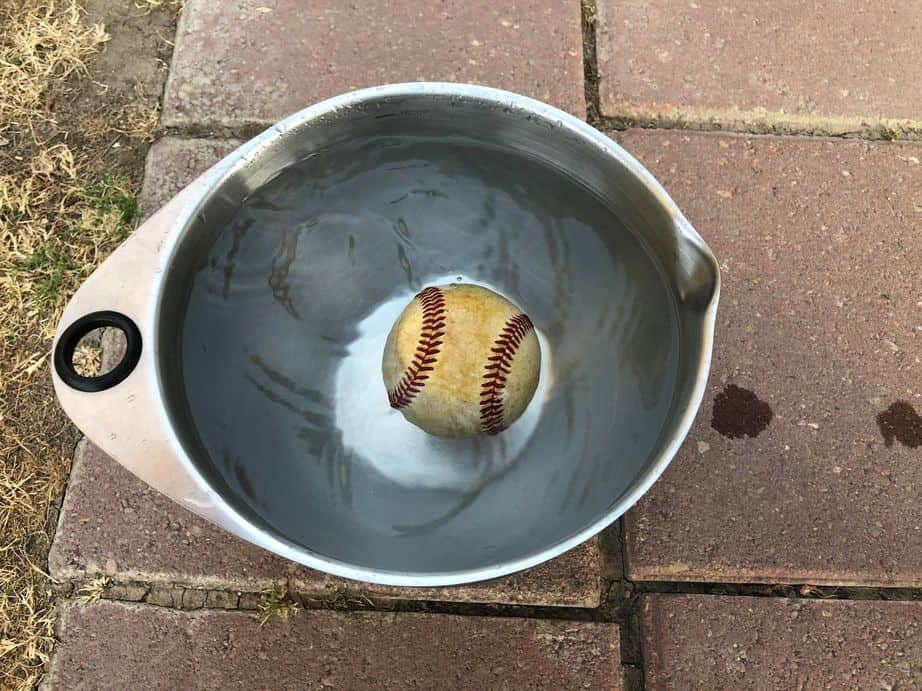 Baseball floats in bowl of water.