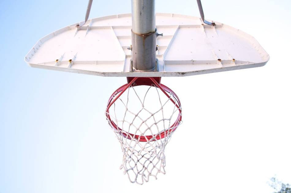 Basketball hoop at park.