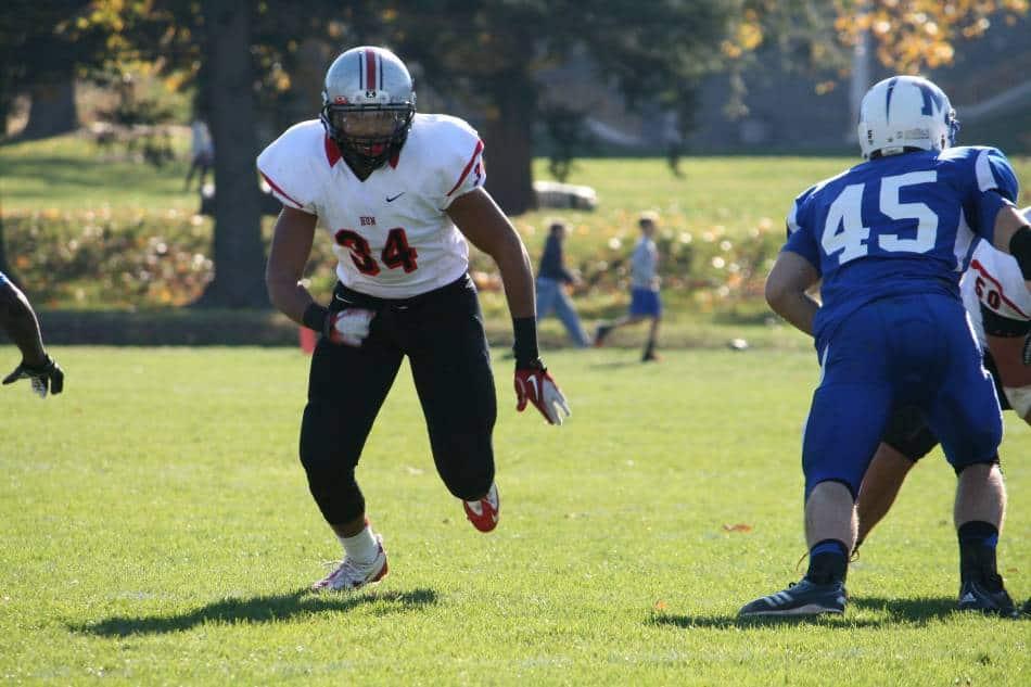 Linebacker pressuring the quarterback.