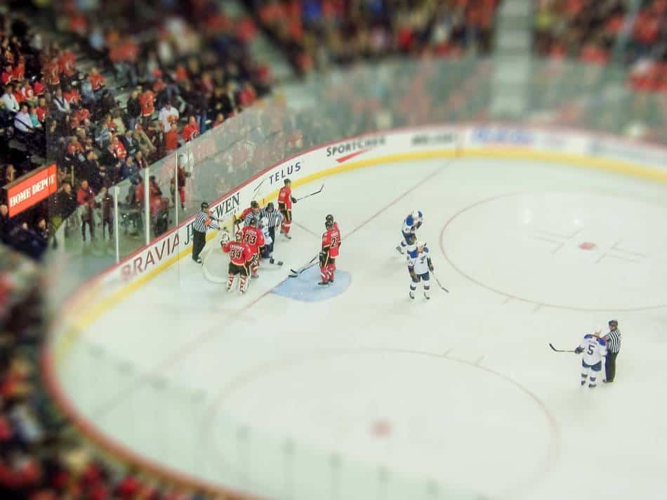 Net comes off during hockey game.