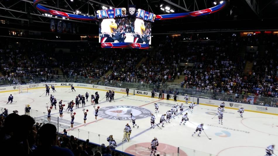 Hockey teams during warmups.