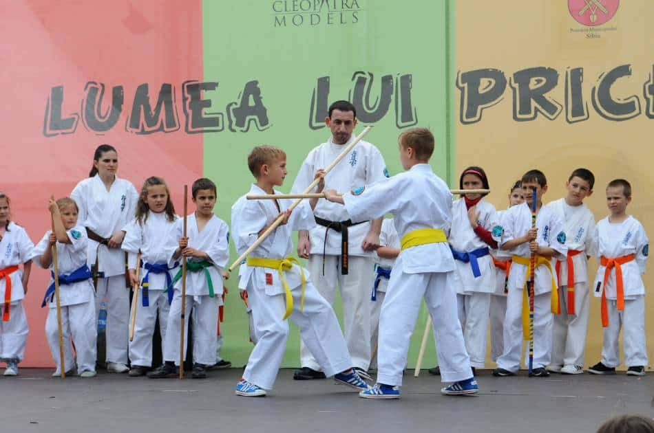 Boys and girls practice martial arts with sticks.