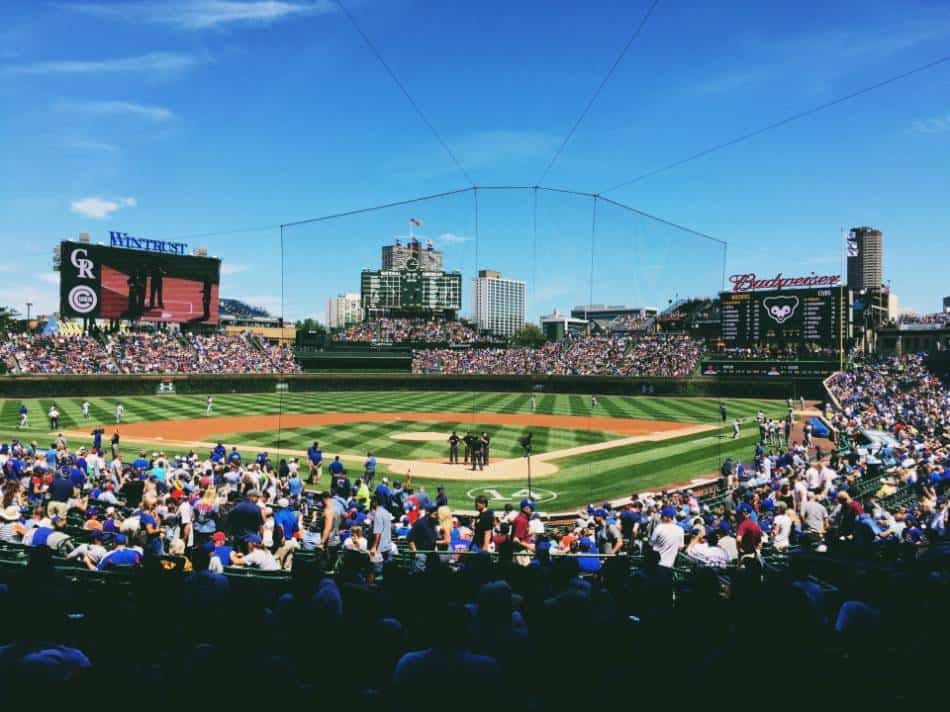 A view from Wrigley Field from behind homeplate.