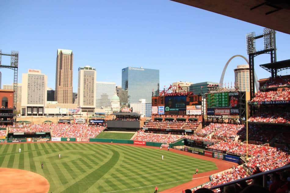 A look at the Gateway Arch and St. Louis skyline from inside Busch Stadium.