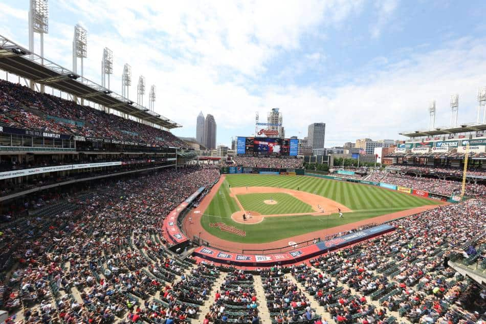 View of the stands and field at a Cleveland Indians game.
