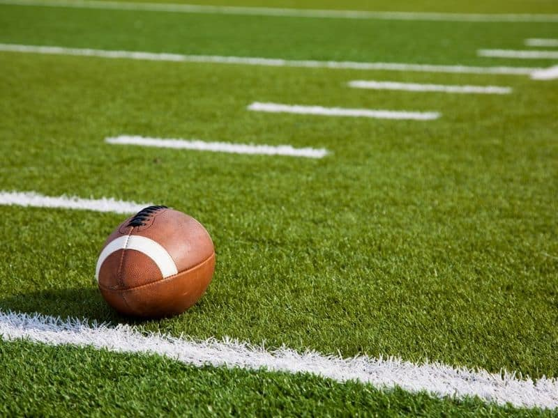 Football on a football field.