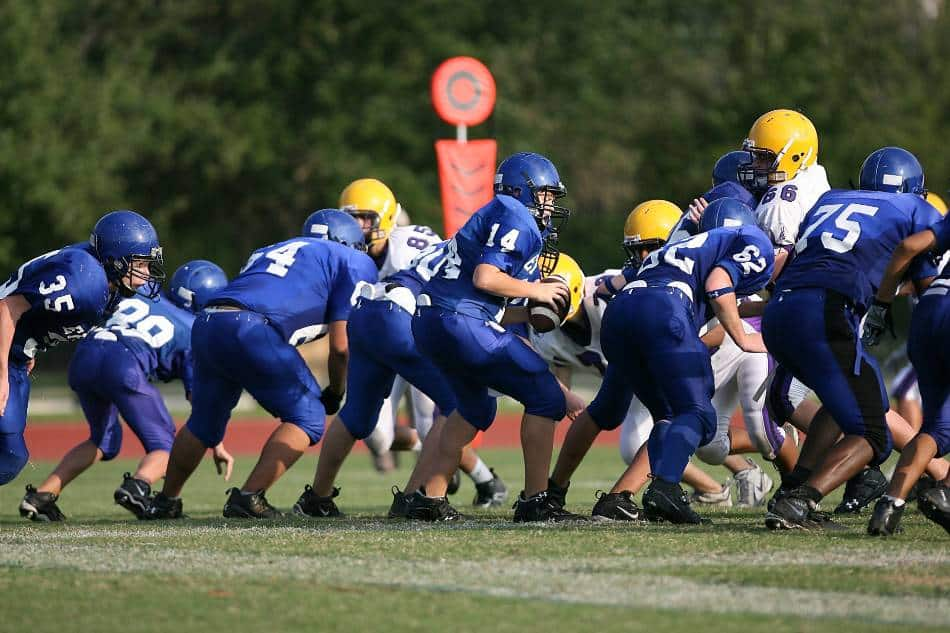 Football quarterback in blue receives the snap.