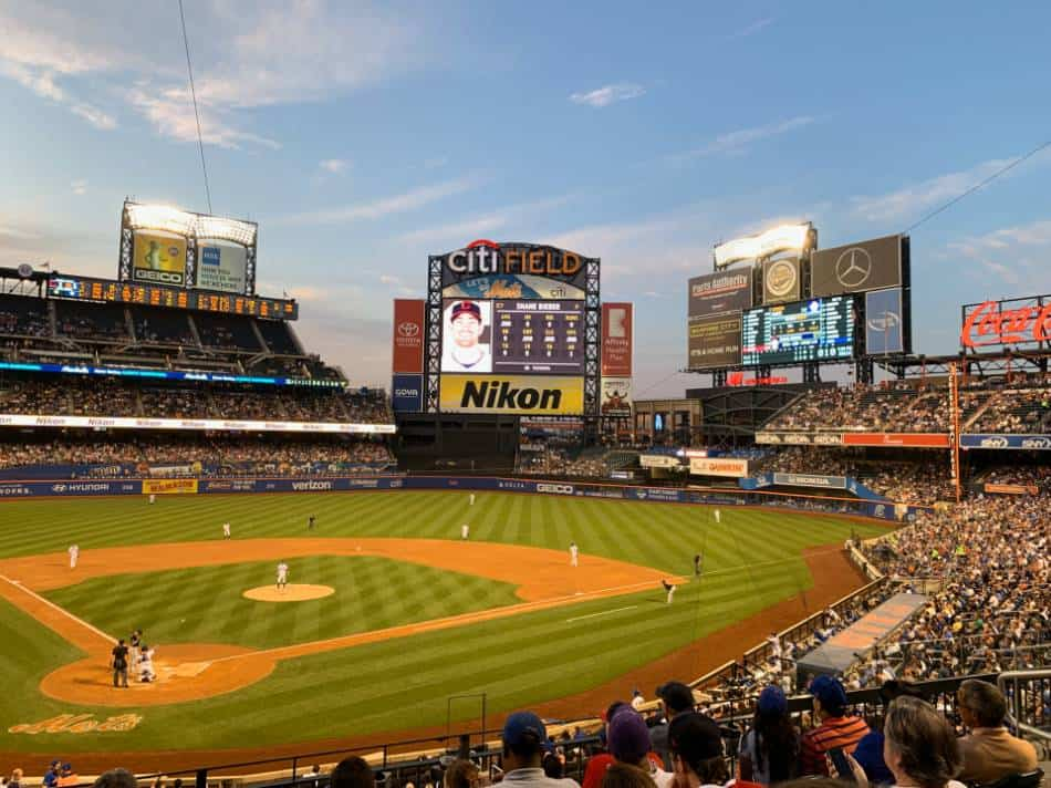 View from the stands at a Mets game.