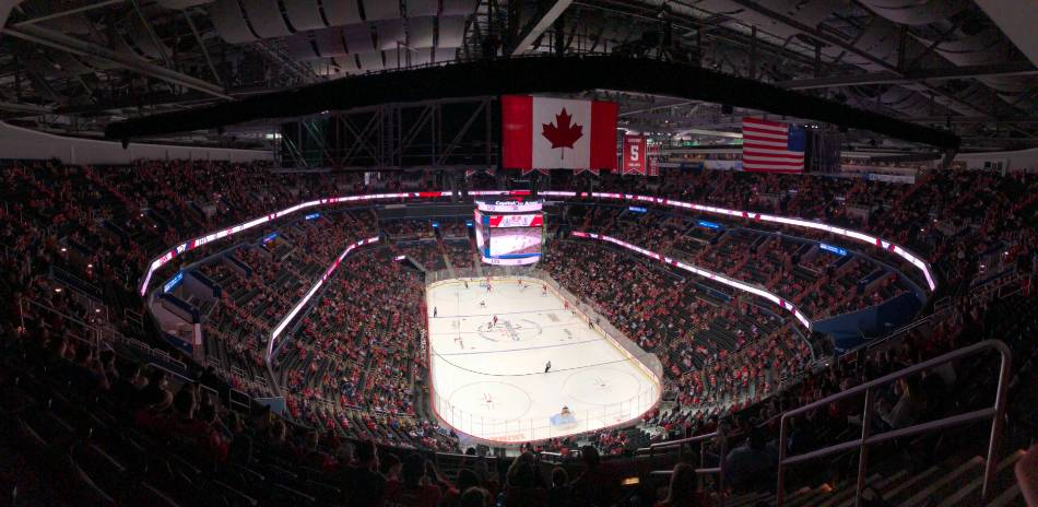 View of a NHL game from the stands.