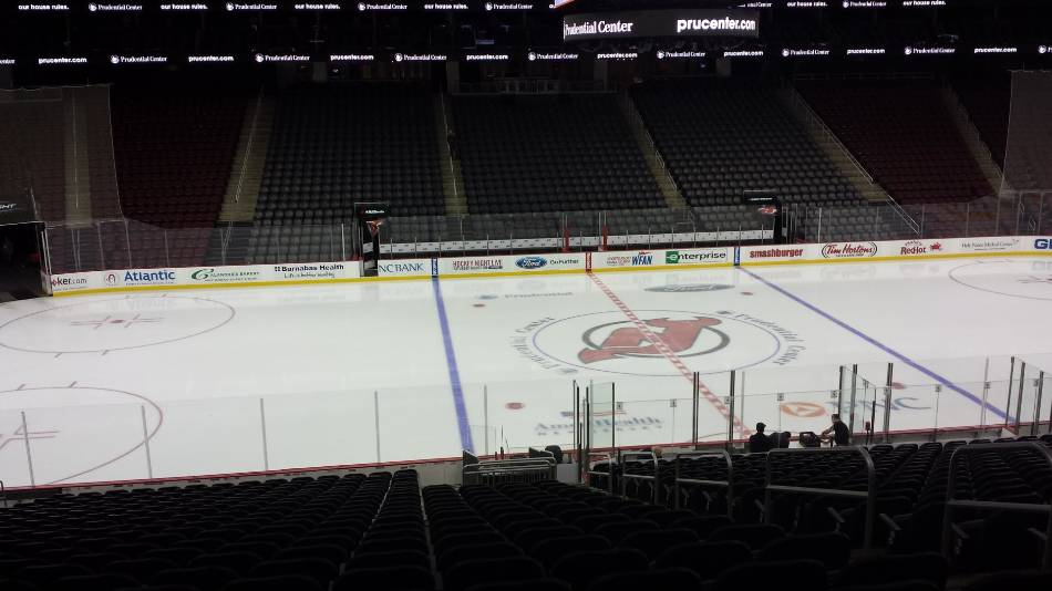 View of the New Jersey Devil's ice before a game.