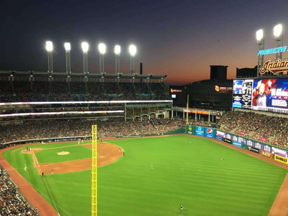An aerial view of Progressive Field from right field.