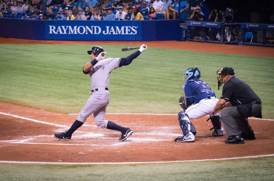 Alex Rodriguez of the New York Yankees swings at a pitch against the Tampa Bay Rays.