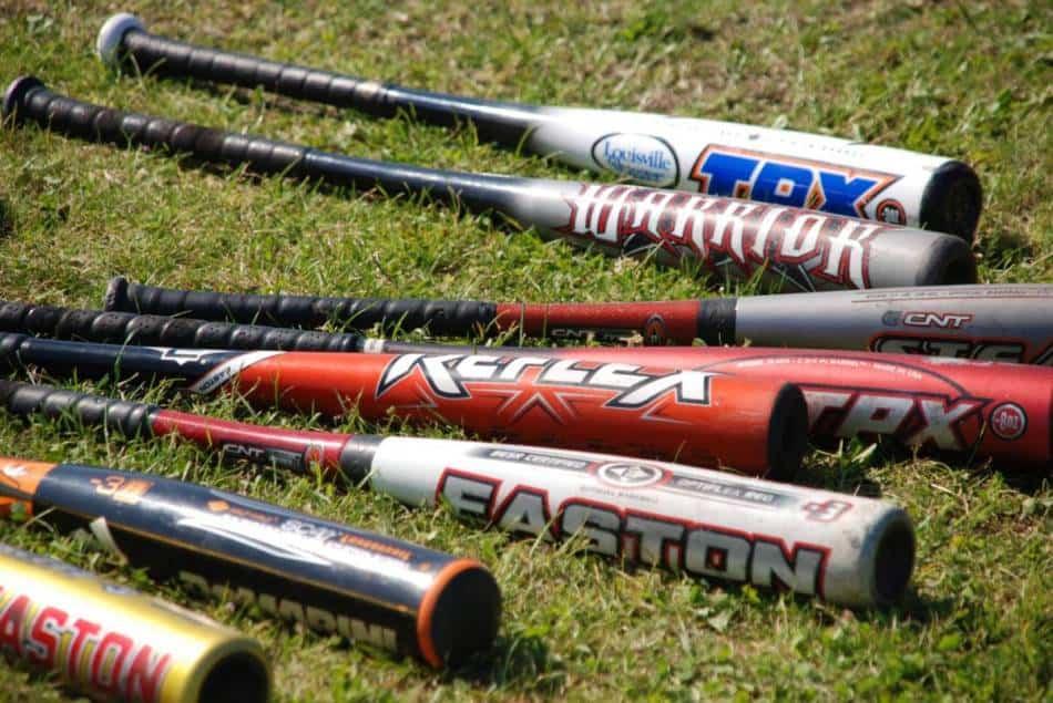 Seven aluminum baseball bats.