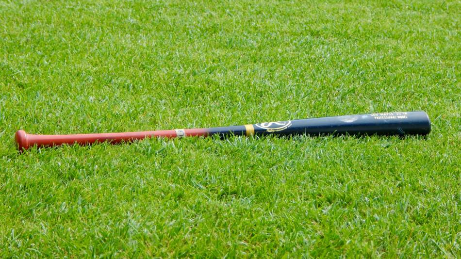 A black and brown fungo bat lying in the grass.