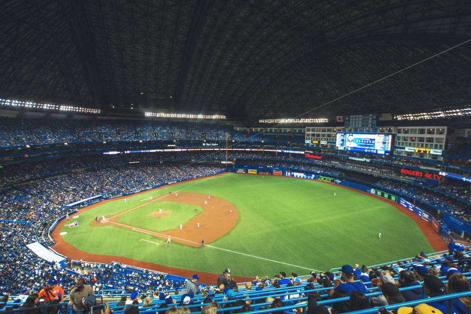 Nosebleed view of a Toronto Blue Jays game from the first base side.