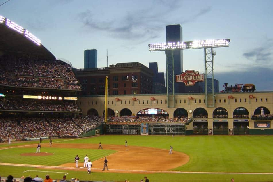 View of the Houston Astros field from the first base side.