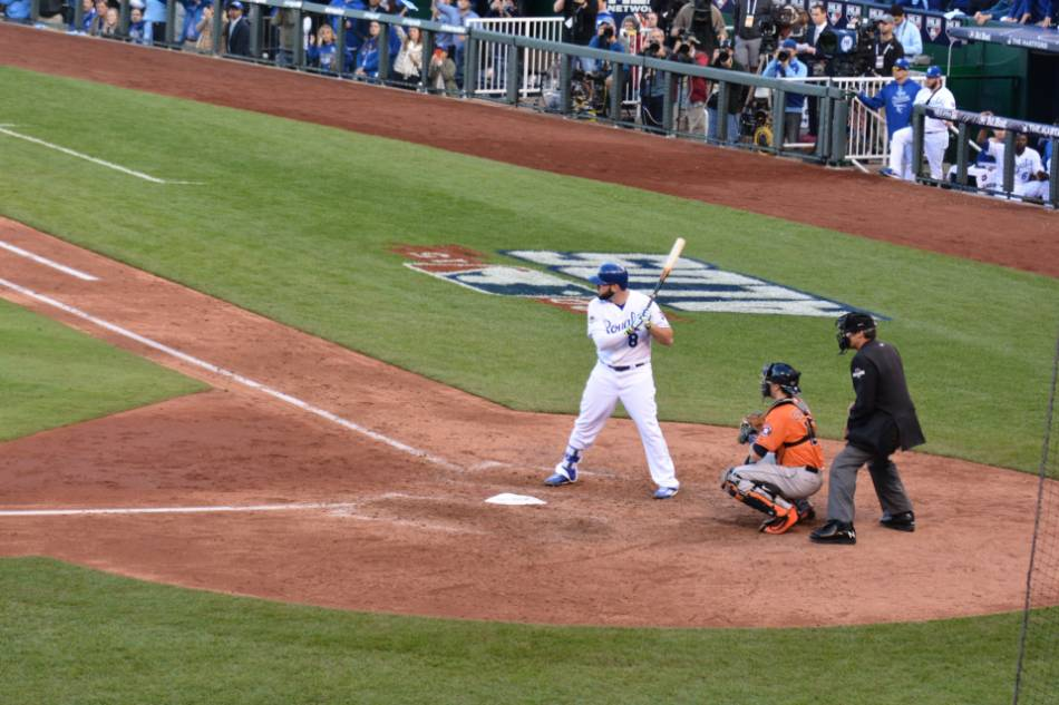 A Kansas City Royals player gets ready for a pitch.
