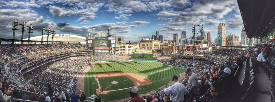 Nosebleed view of the Detroit Tigers field.