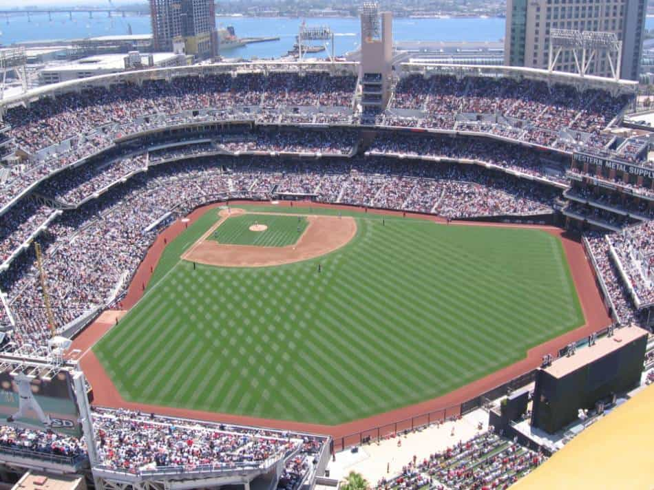 An aerial view of an MLB game.
