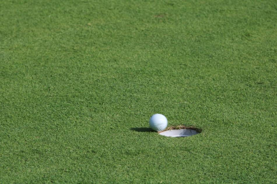 Golf ball about to fall into one of the holes on a golf course.