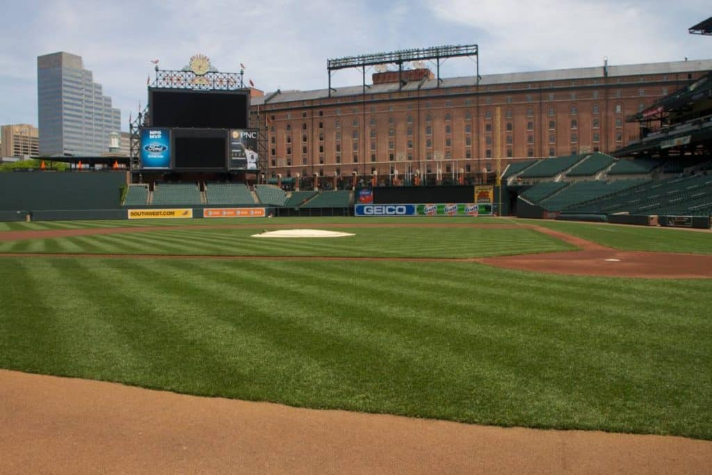 An on-field view of an MLB stadium.