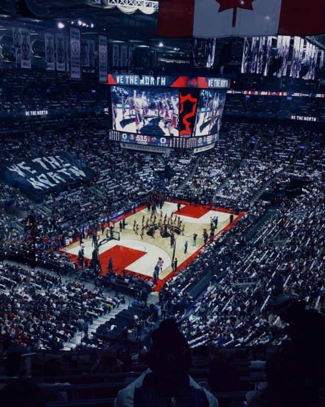 Nosebleed view of the Toronto Raptors basketball court.