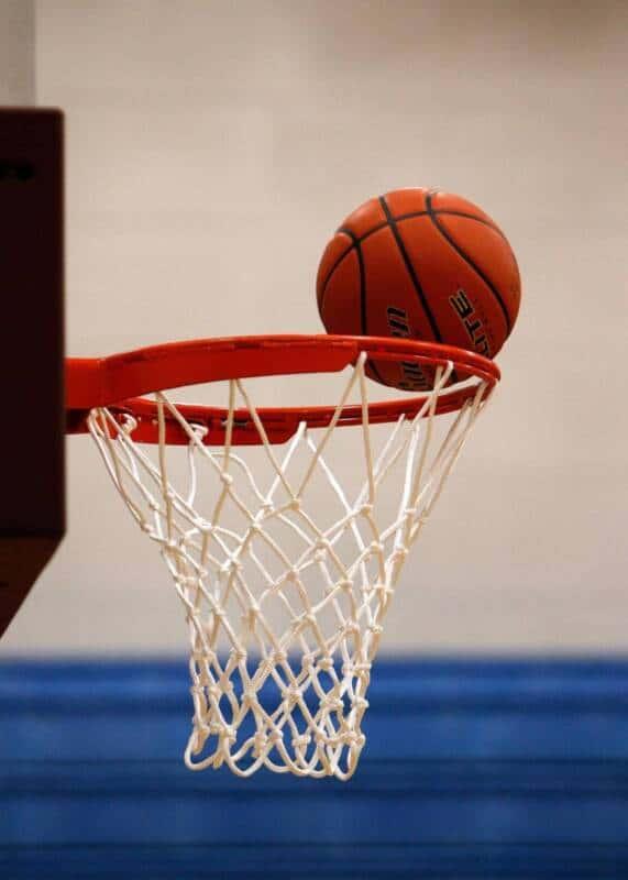 High school basketball hoop measuring 10ft tall.