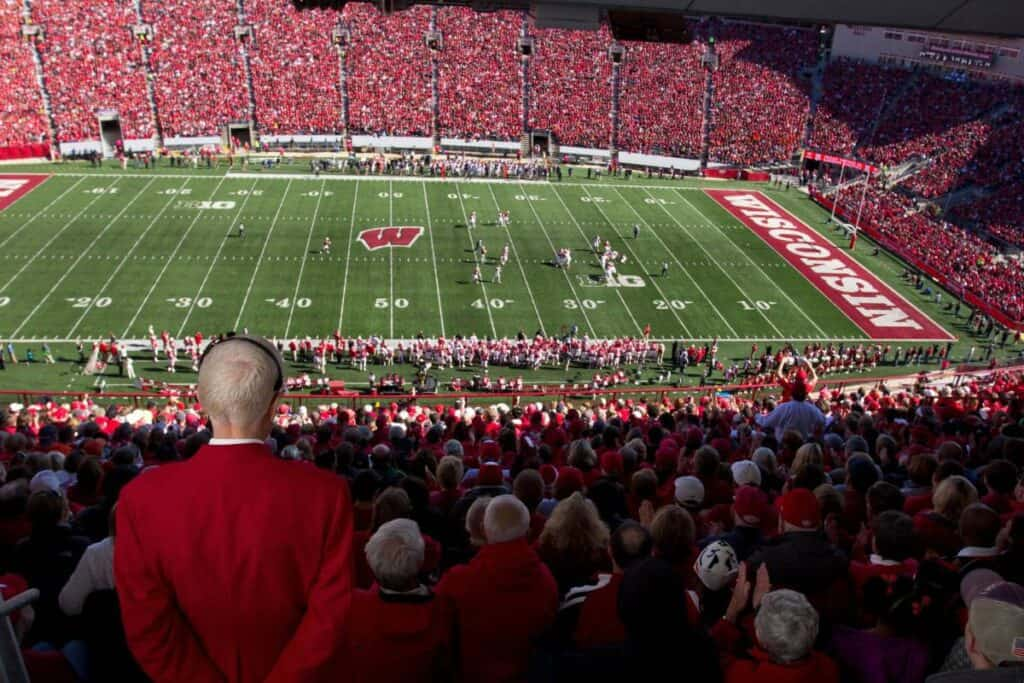 A view of the Wisconsin Badgers stadium on gameday.