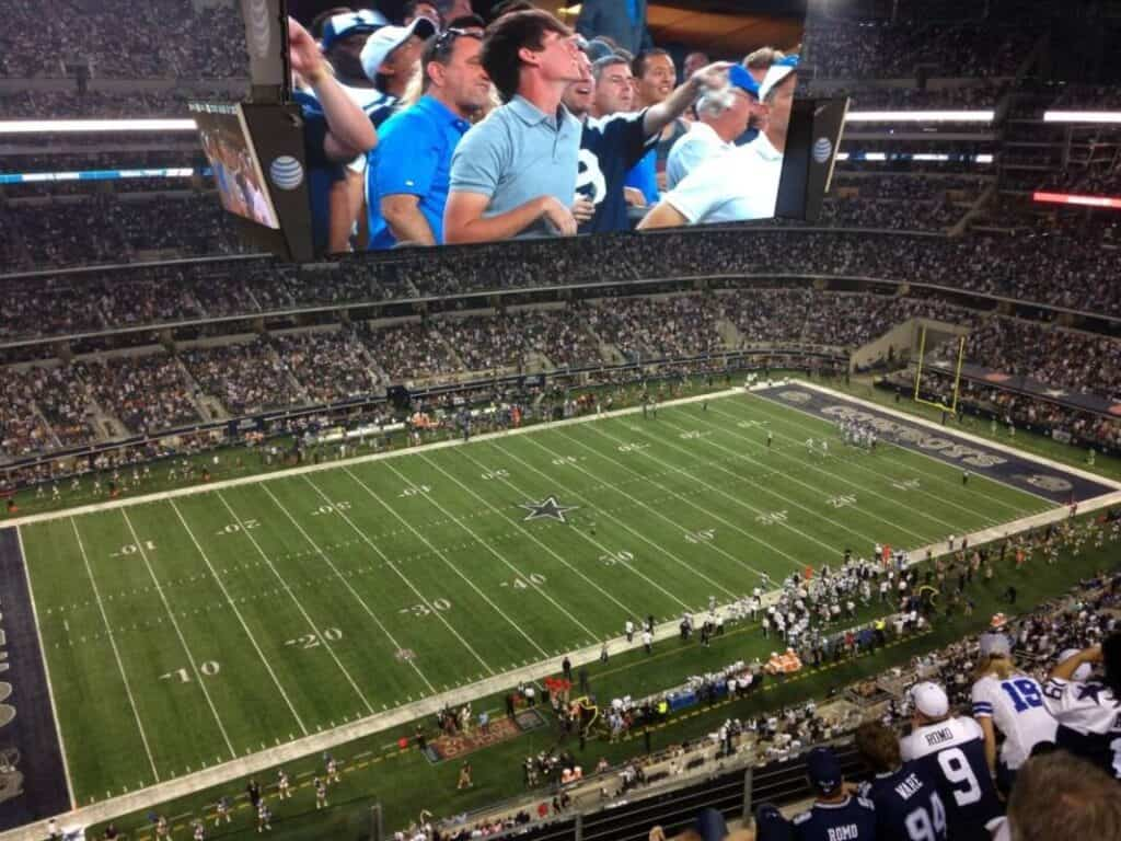 View from the nosebleeds of the Dallas Cowboy Stadium.