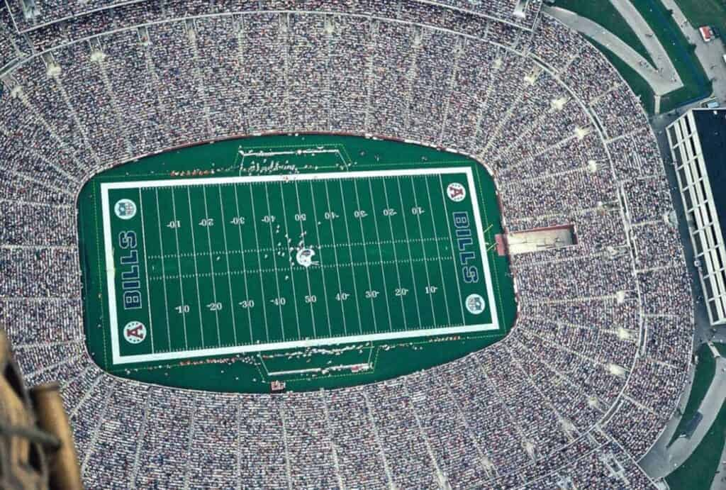 Aerial view of the Buffalo Bills Stadium.