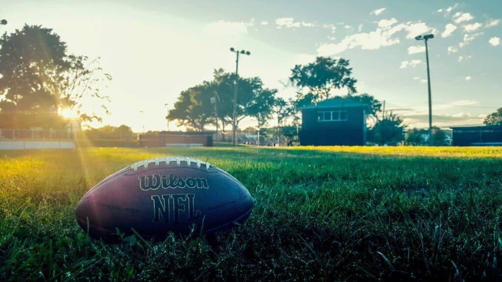 NFL football lying on the grass.