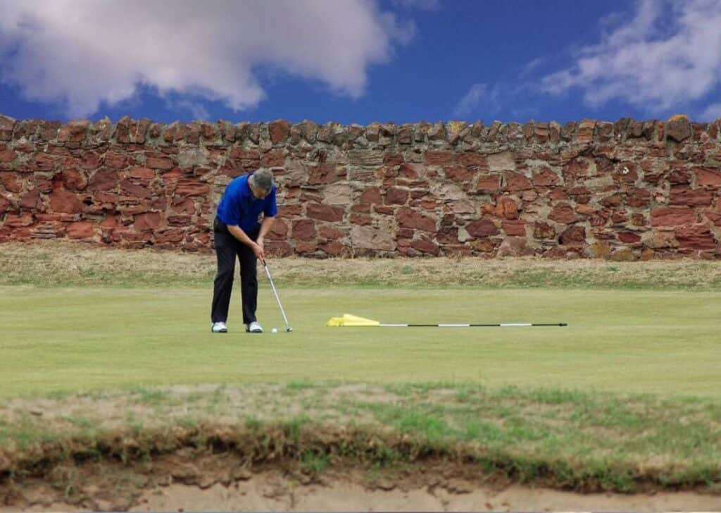 A golfer putts the golf ball.