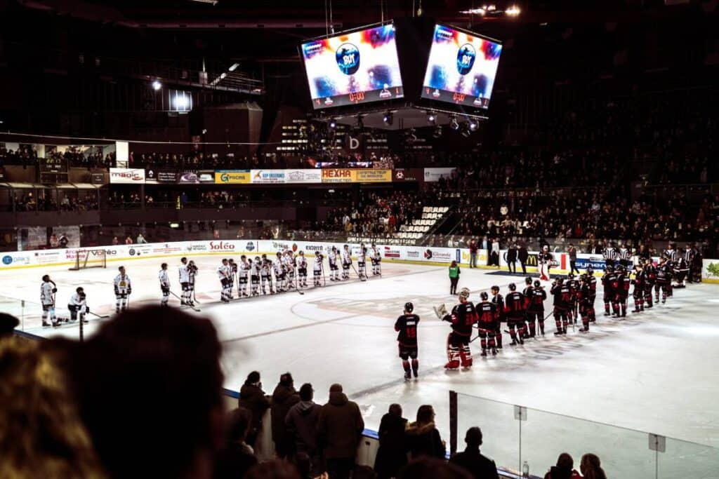 Two professional hockey teams line up for the national anthem.