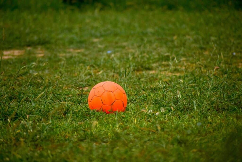 A size 1 soccer ball sits in the grass.