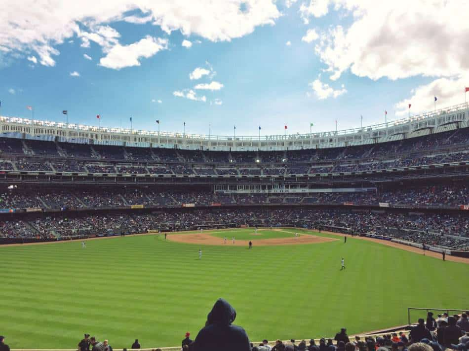 A view of Yankee Stadium from left-center field.
