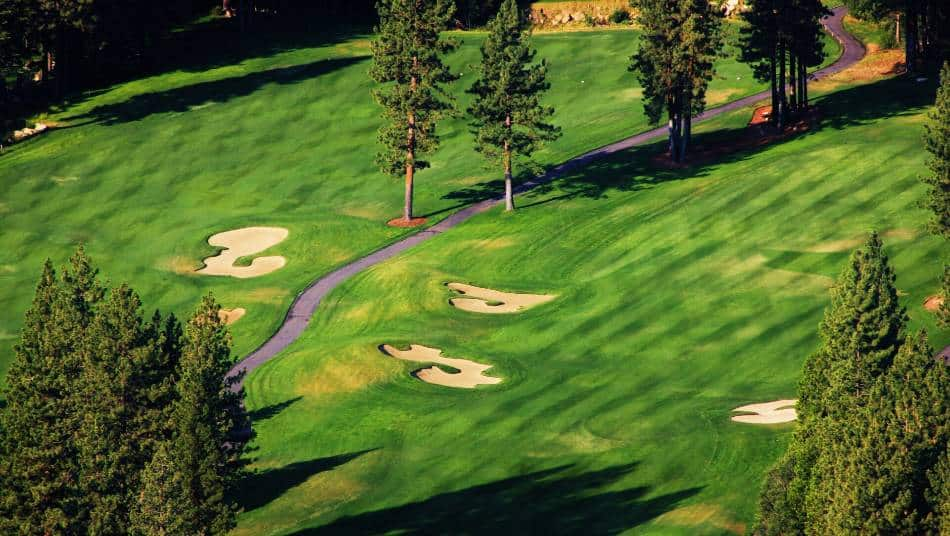 An aerial view of a golf course.
