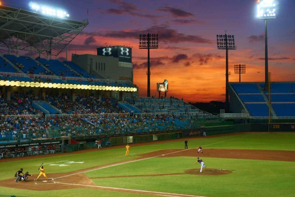 A baseball game at night.