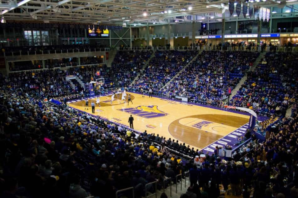 A view of a college basketball court.
