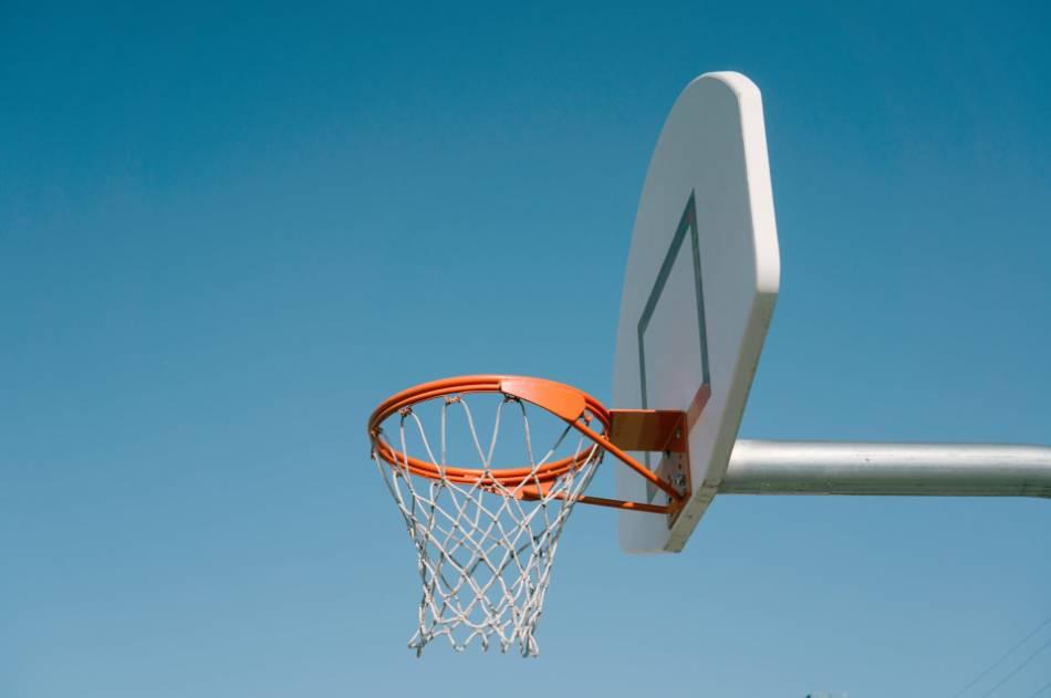 An outdoor basketball hoop.