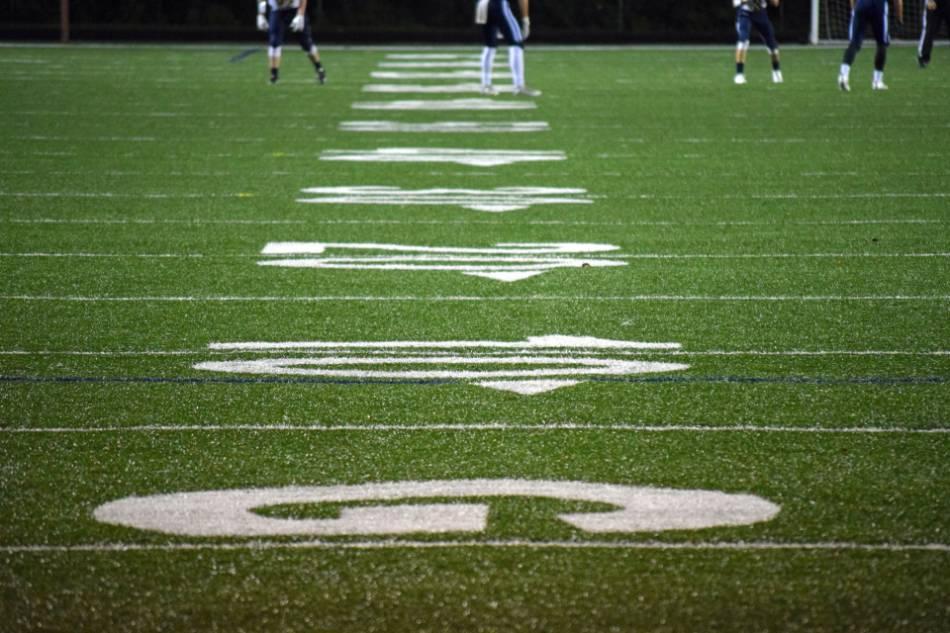 A vertical photo of a football field.