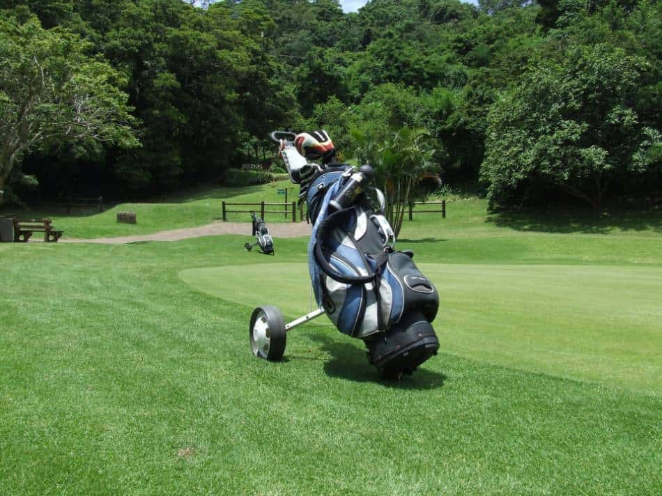 Two sets of golf clubs by a green.